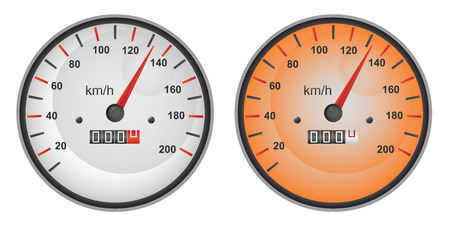 kilometre: Vector illustration of speedometer gauges in two color variants