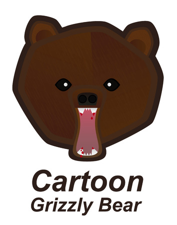 kodiak: Vector cartoon illustration of angry grizzly bear mascot