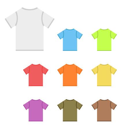poliester: Conjunto de vector camisetas en colores b�sicos