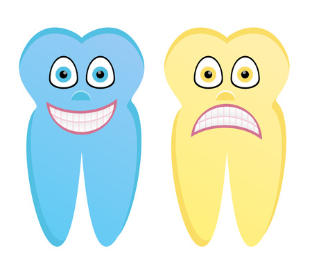 rotten: Vector cartoon illustration of healthy tooth and rotten tooth