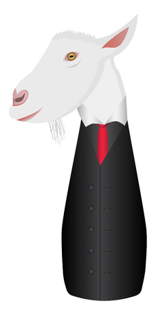 masticate: Business version of goat in a suit Illustration