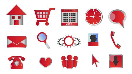 web buttons: Web and multimedia glossy red icons and buttons