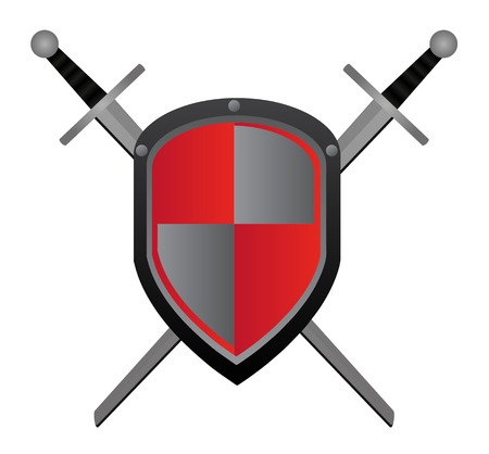 gable: Two swords and red shield