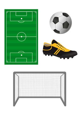 peat: Set of football or soccer elements Illustration