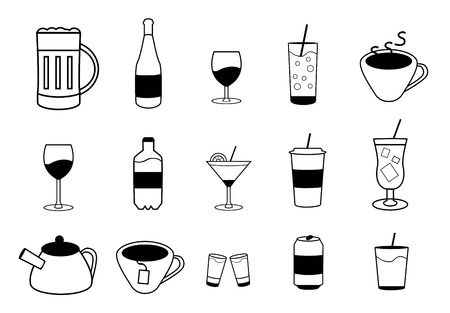 dram: Set of vector drink icons