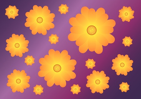 reiteration: Violet background with pattern of yellow-orange flowers