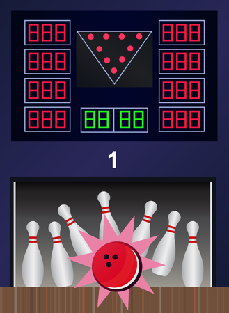 bowling strike: Bowling strike - vector bowling pins and ball