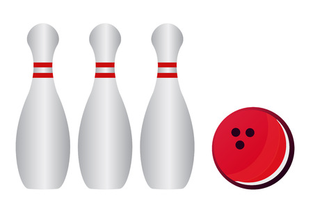 bowling alley: Vector illustration of bowling pins and bowling ball