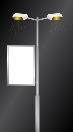 Advertising billboard - Streetlights advertising by night Illustration