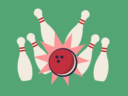 bowling sport: Retro bowling strike