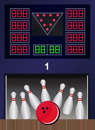 bowling strike: Bowling strike - vector bowling pins and ball