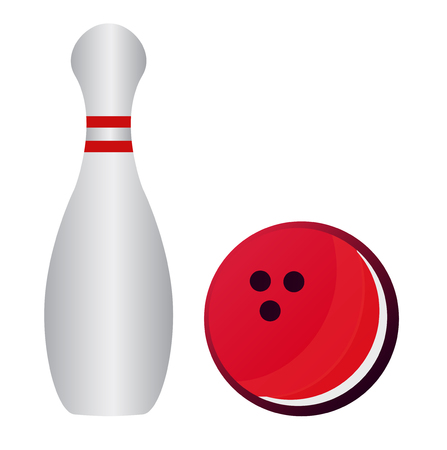 bowling alley: Bowling pins and bowling ball