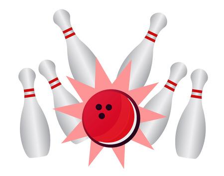 bowling alley: Bowling strike - vector bowling pins and ball