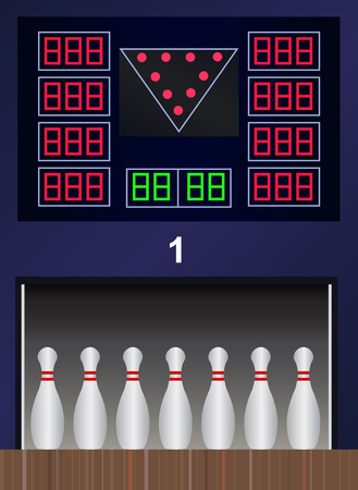 centers: Vector bowling pins on bowling alley Illustration