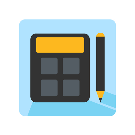 reckoning: Flat school math icon design - calculator and pencil Illustration