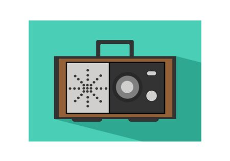 retro radio: Retro radio icon flat Illustration