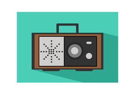 Retro radio icon flat Illustration