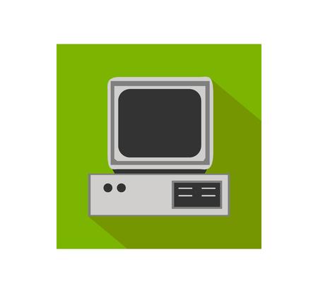 retro computer: Retro computer flat icon