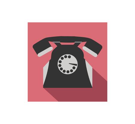 retro telephone: Retro telephone flat icon