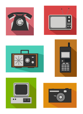 switcher: Flat colorful design - Icon set of retro electronics devices