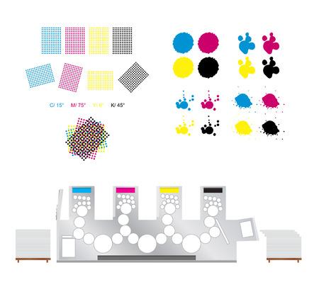 escarapelas: conjunto de impresi�n - rosetones de impresi�n, la m�quina de impresi�n y CMYK