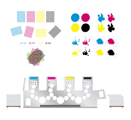 printing inks: printing set - rosettes printing, printing machine and CMYK