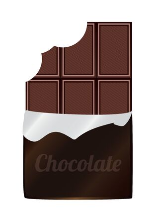 illustration of unpacked bitten dark chocolate