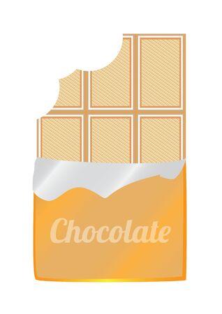 white chocolate: illustration of unpacked bitten white chocolate Illustration