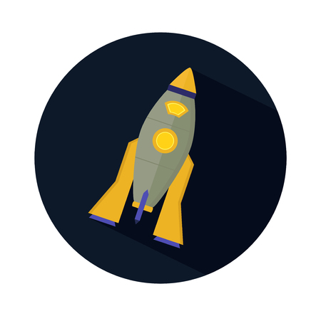 macrocosm: icon flat design of space rocket - universe round