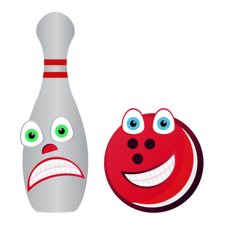 bowling alley: Cartoon Bowling - scared and happy Skittle bowling ball