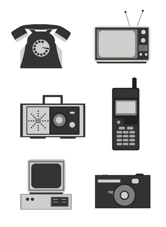 pc icon: Icon set of retro electronics devices in black and white