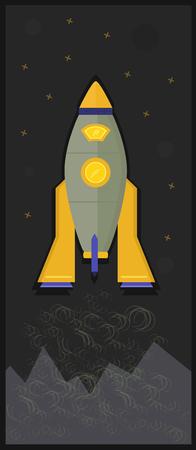 macrocosm: Space rocket in universe Illustration