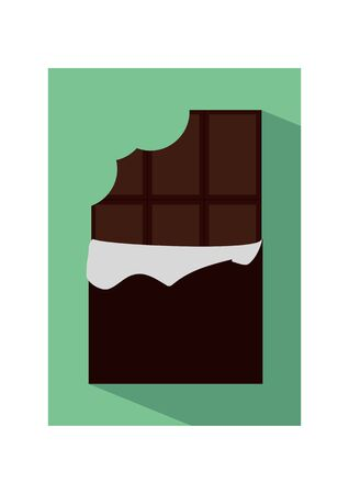 chocolate bar: icon illustration of flat unpacked bitten chocolate