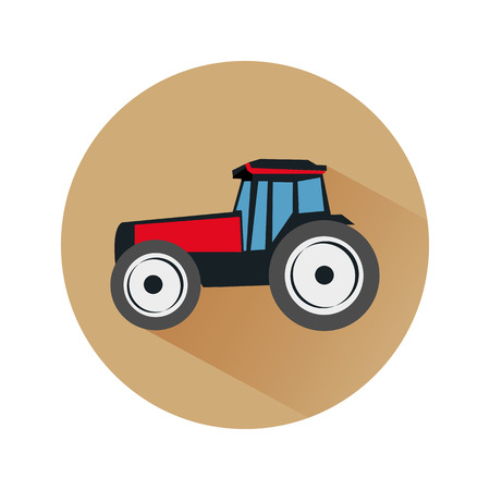 owing: Vector flat icon of tractor on the soil background with shadow
