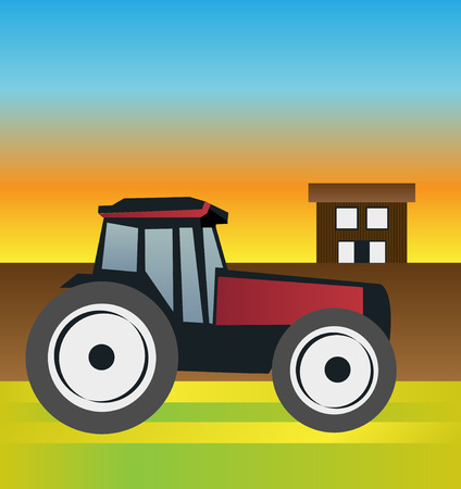 indian summer: Tractor on the field at sunset with the farm in the background Illustration