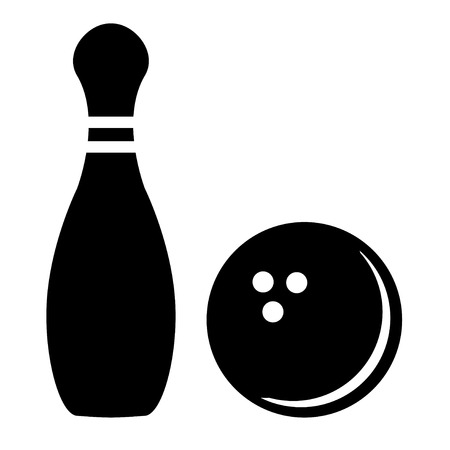 bowling strike: Silhouette of bowling pins and bowling ball Illustration