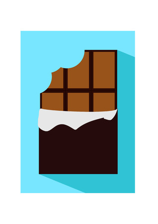 Vector flat icon illustration of unpacked bitten chocolate