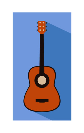 accords: Guitar flat icon with shadow on the blue background