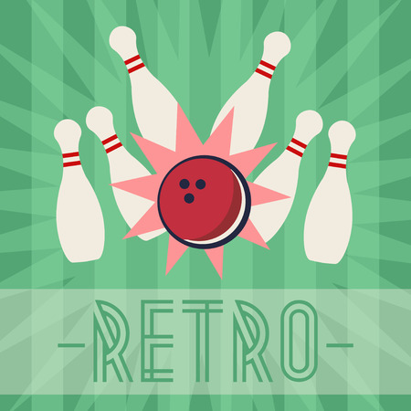 old fashioned: Retro bowling strike with old fashioned background