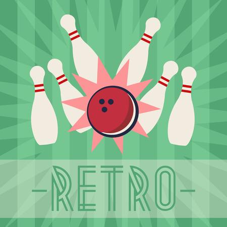 bowling strike: Retro bowling strike with old fashioned background