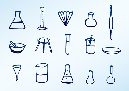hand-drawn chemical icons - chemical laboratory equipment Stock Illustratie