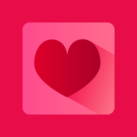 feel affection: Vector flat icon of red heart with shadow