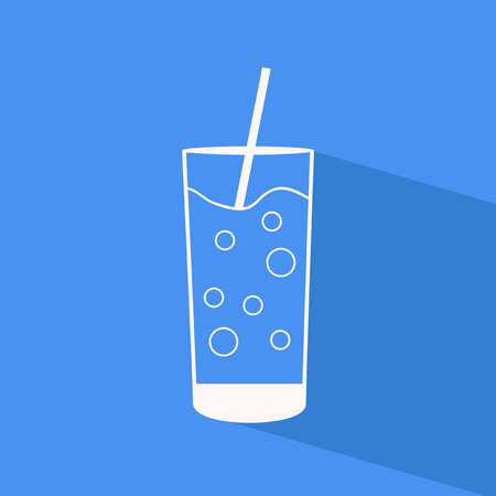 Glass of water - vector flat outline icon with shadow