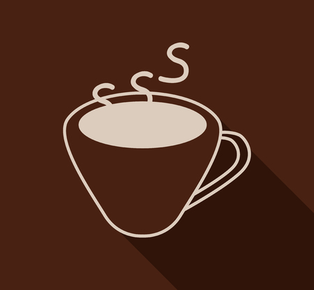 cafe vector flat icon - coffee simple mug and background with shadow Illustration