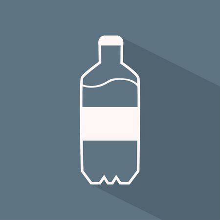 plastic bottle: Vector flat icon of plastic bottle with water on the gray background with shadow Illustration