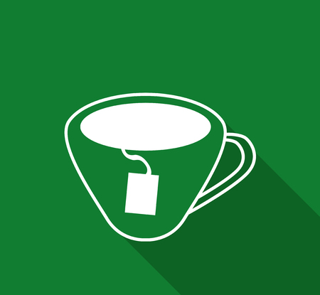 tearoom: Vector flat outline icon of cup of tea