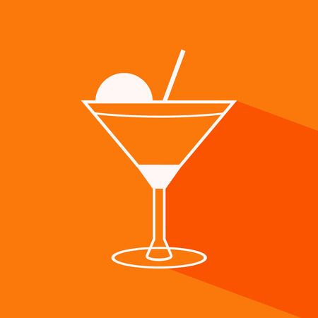 pina colada: Vector outline cocktail flat icon on the orange background with shadow