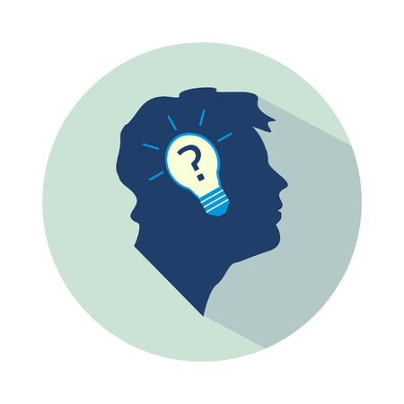 canny: Vector flat business idea design - head with bulb and question mark