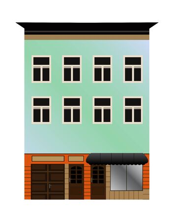 prefabricated: Vector illustration of an old house or shop