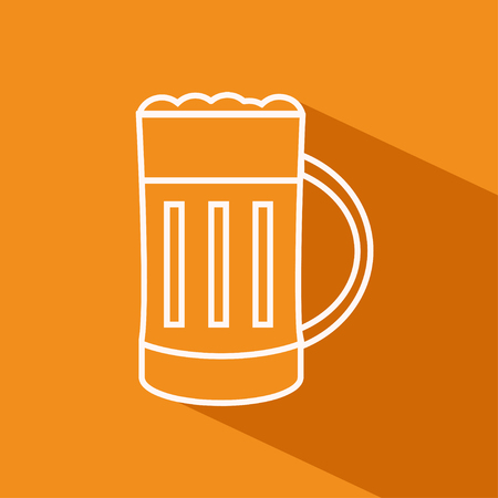 pint: Vector flat outline icon of pint of beer on the orange background with shadow Illustration